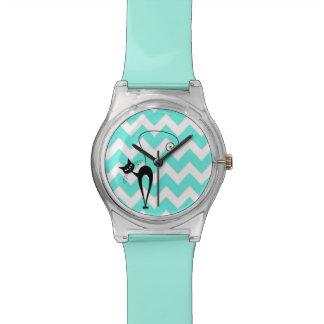Funny trendy chevron cat wristwatches