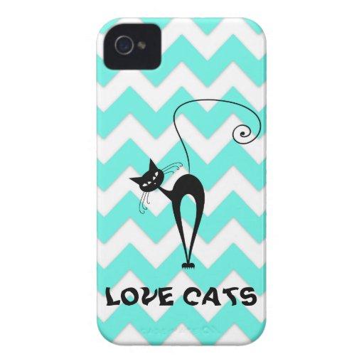 Funny trendy chevron love cats iPhone 4 case