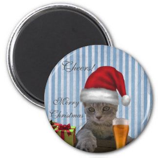 Funny trendy Christmas Santa cat with beer 2 Inch Round Magnet