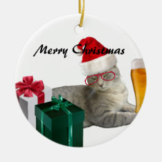 Funny trendy Christmas Santa cat with beer Ceramic Ornament at Zazzle