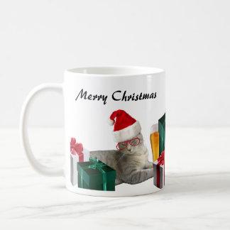 Funny trendy Christmas Santa cat with beer Coffee Mug