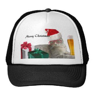 Funny trendy Christmas Santa cat with beer Trucker Hat