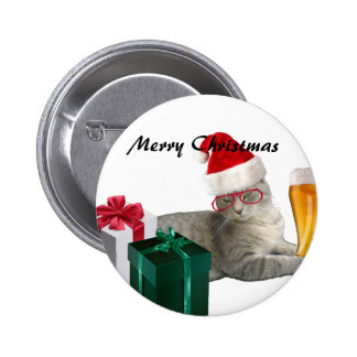 Funny trendy Christmas Santa cat with beer Pinback Button