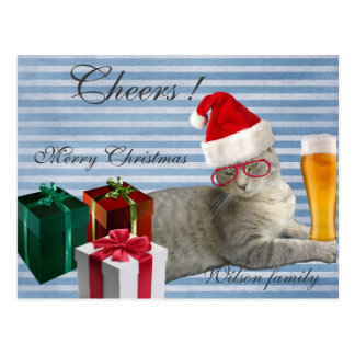 Funny trendy Christmas Santa cat with beer Postcard