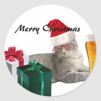 Funny trendy Christmas Santa cat with beer Round Sticker