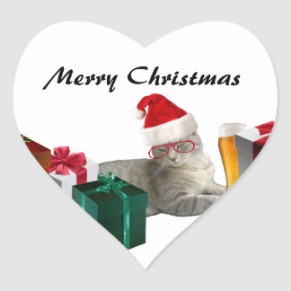 Funny trendy Christmas Santa cat with beer Heart Stickers