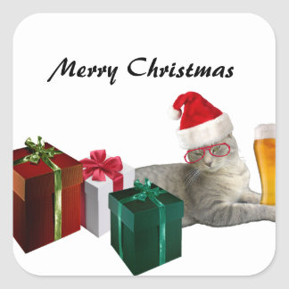 Funny trendy Christmas Santa cat with beer Square Sticker