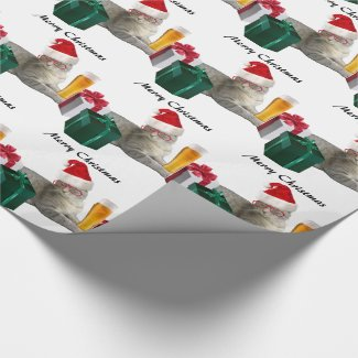 Funny trendy Christmas Santa cat with beer Wrapping Paper