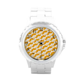 Funny Trendy Orange Neon Mustache Pattern Watches