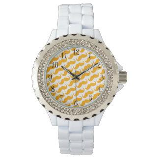 Funny Trendy Orange Neon Mustache Pattern Wrist Watches