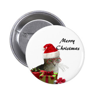 Funny trendy Santa wise cat Christmas Pinback Button