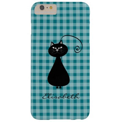 Funny trendy whimsical cartoon cat personalized barely there iPhone 6 plus case