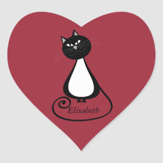 Funny trendy whimsical cartoon cat personalized heart sticker