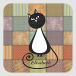 Funny trendy whimsical cartoon cat personalized square sticker