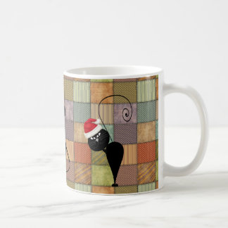 Funny trendy whimsical patchwork Christmas cat Coffee Mug