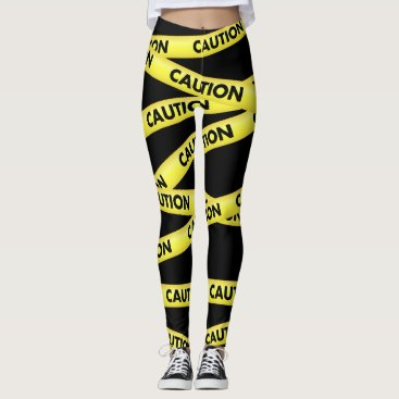 Beach Themed Funny Trendy Yellow Black Caution Tape Leggings