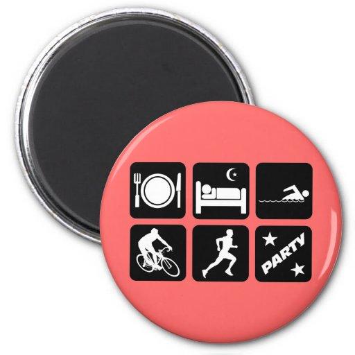Funny triathlon 2 inch round magnet