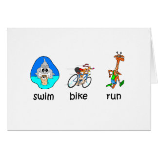 Funny triathlon greeting card