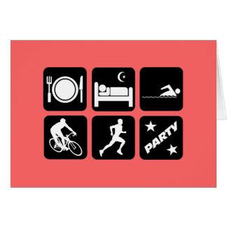 Funny triathlon greeting card