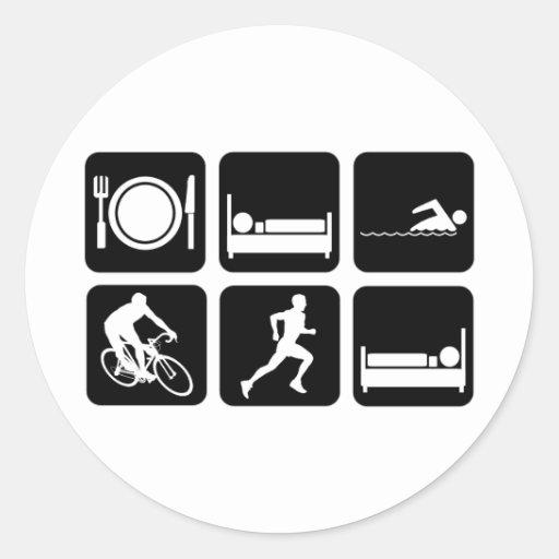 Funny triathlon classic round sticker