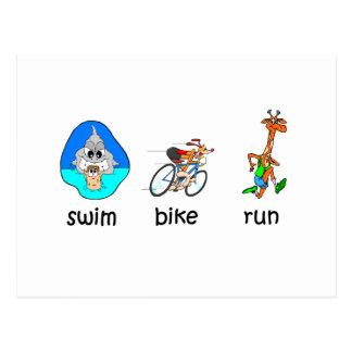 Funny triathlon postcard