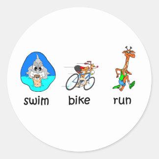 Funny triathlon round sticker