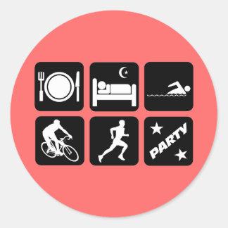 Funny triathlon round stickers