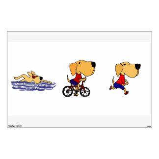 Funny Triathlon Yellow Labrador Retriever Wall Sticker
