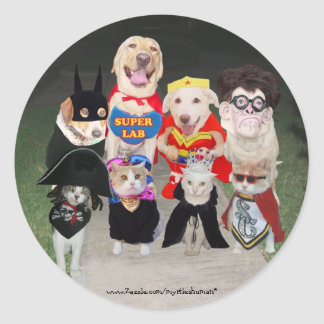 Funny Trick or Treaters Round Sticker