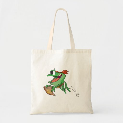 funny trick or treating pirate froggy frog budget tote bag