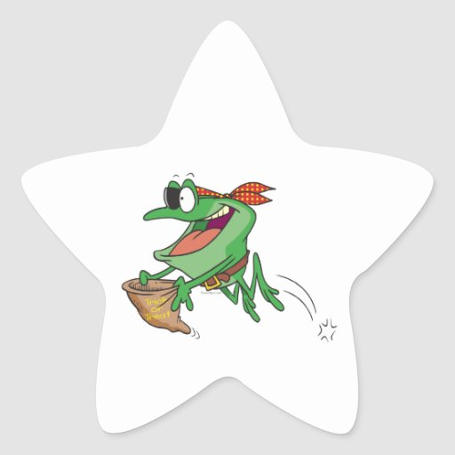 funny trick or treating pirate froggy frog stickers