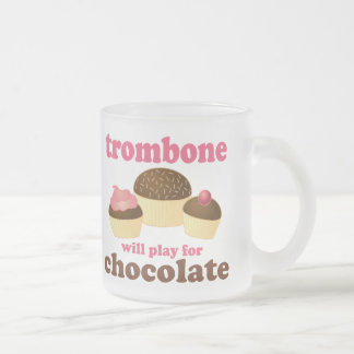 Funny Trombone Will Play for Chocolate Frosted Glass Coffee Mug