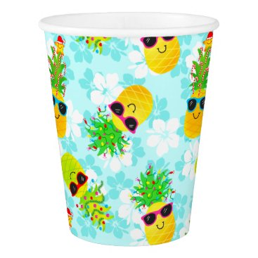 Funny Tropical Christmas Pineapples Paper Cup