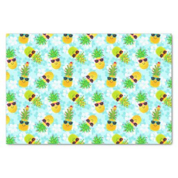 Funny Tropical Christmas Pineapples Tissue Paper