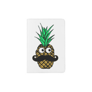 Funny Tropical Pineapple with Googly Eyes Mustache Passport Holder
