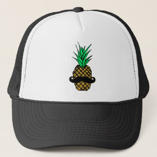 Funny Tropical Pineapple with Mustache Trucker Hat