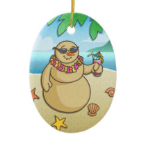 Funny Tropical Snowman Holiday Keepsake Ornament