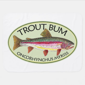 Funny Trout Bum Fisherman's Receiving Blanket