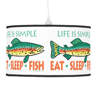 Funny Trout Fishing EAT SLEEP FISH Ceiling Lamp