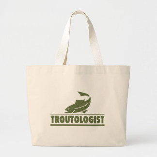 Funny Trout Fishing Large Tote Bag