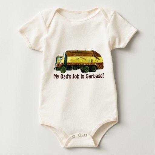 Funny Trucker Baby My Dad's Job is Garbage Bodysuit