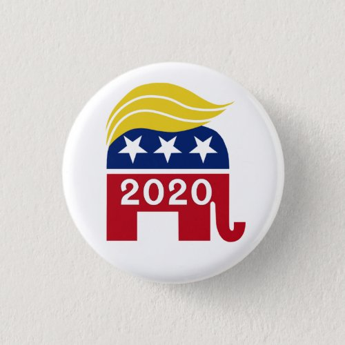 Funny Trump 2020 Elephant Hair Political Vote Button