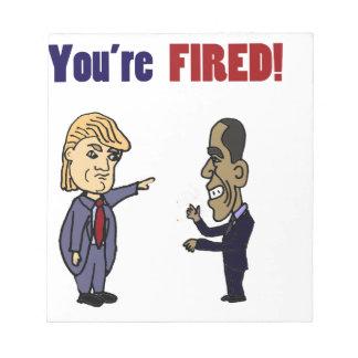 Funny Trump Firing Obama Political Cartoon Notepad