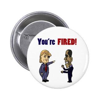 Funny Trump Firing Obama Political Cartoon Pinback Button