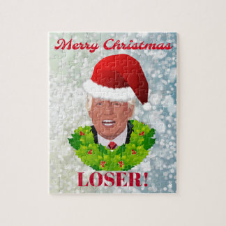 """Funny Trump """"Merry Christmas Loser"""" Jigsaw Puzzle"""