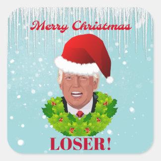 "Funny Trump ""Merry Christmas Loser"" Square Sticker"