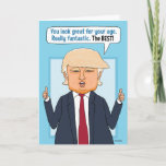 "Funny Trump Not Fake News Birthday Card<br><div class=""desc"">This funny birthday card features Donald Trump telling the person having a birthday that he or she looks fantastic ...  THE BEST! And that's not FAKE NEWS!</div>"