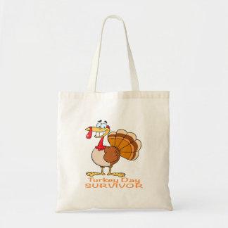 funny turkey day survivor turkey tote bag