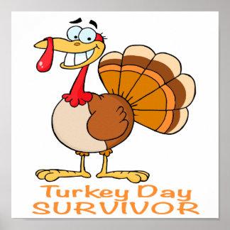 funny turkey day survivor turkey print