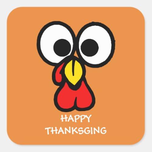 Funny Turkey Face Happy Thanksgiving Square Sticker